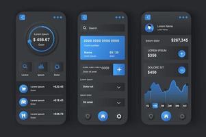 banque en ligne, kit de conception néomorphique unique vecteur