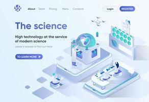 la science, page de destination isométrique