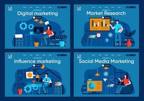 marketing des médias sociaux, ensemble de pages de destination plates vecteur
