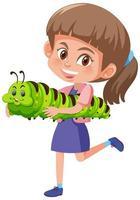 fille tenant un personnage de dessin animé animal mignon