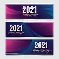 Bannière de nouvel an bleu violet moderne 2021 vecteur