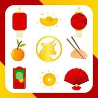 simple collection d'icônes du nouvel an chinois vecteur