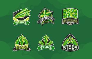 incroyable pack de logo étoile verte vecteur
