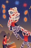 célébration du nouvel an chinois avec danse du lion