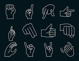 collection d'icônes de gestes de la main et de la langue des signes