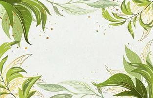 beau fond de feuilles florales avec une feuille d'or métallique vecteur