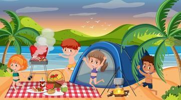scène de pique-nique avec une famille heureuse à la plage vecteur