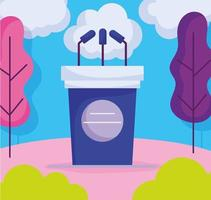 podium parlant avec des microphones à l'extérieur vecteur