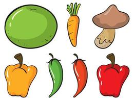 grand ensemble de fruits et légumes sur fond blanc vecteur