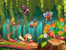 groupe d'insectes dans la nature féerique vecteur