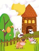 animaux mignons dans une ferme vecteur