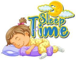 conception de polices pour le temps de sommeil de mot avec petite fille endormie vecteur