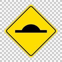 Panneau de signalisation de ralentisseur isolé sur fond transparent