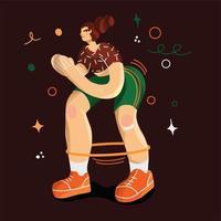fille de sport dessinée à la main de style branché faisant des squats