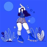 jolie fille de dessin animé posant sur des patins à roulettes vecteur