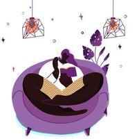fille se détend et lit à la maison pendant l'auto-isolement vecteur
