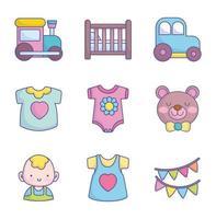 jolie collection d'icônes de douche de bébé