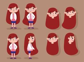 dessin animé animation fille personnage visages et corps vecteur