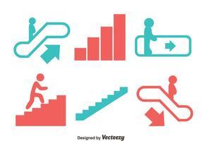 Vecteur escalator et icônes d'escalier