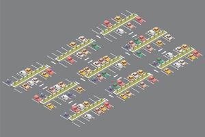 conception isométrique de parking vecteur