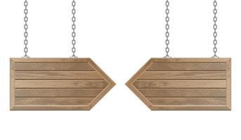 flèches en bois suspendues à des chaînes en acier