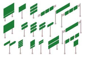 ensemble de panneaux de signalisation isométrique vecteur