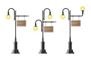 planches de bois suspendues à des lampadaires vintage vecteur