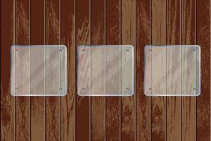 plaques de verre transparent carré sur fond texturé en bois vecteur