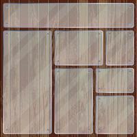 Rectangle et plaques de verre transparent carré sur la texture en bois vecteur