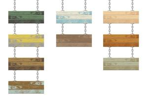 planches en bois de différentes couleurs avec chaînes en acier