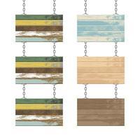 planches en bois avec chaînes en acier