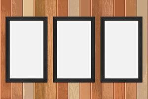 cadres photo en bois sur fond de planche vecteur