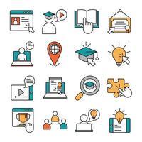 jeu d'icônes d'éducation en ligne