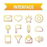 jeu d'icônes de technologie d'interface, numérique et web vecteur