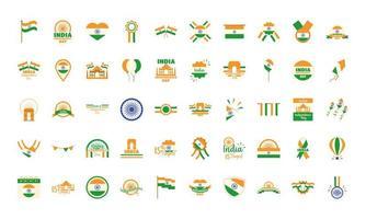 jeu d'icônes de la fête de l'indépendance de l'inde vecteur