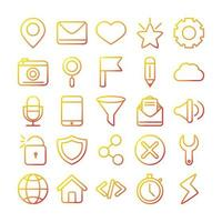 jeu d'icônes de technologie d'interface, numérique et web