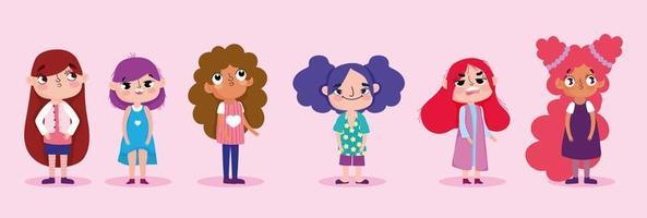 ensemble de personnages de dessins animés petites filles vecteur