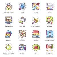 galerie d'images, jeu d'icônes plat vecteur