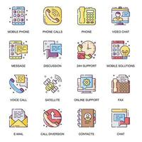 communication de personnes, jeu d'icônes plat vecteur