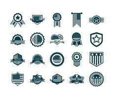 jeu d'icônes de silhouette de fête de l'indépendance des États-Unis