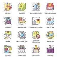 service de livraison, jeu d'icônes plat vecteur