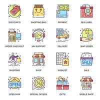 jeu d & # 39; icônes plat e-commerce vecteur