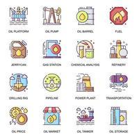 jeu d & # 39; icônes plat de l & # 39; industrie pétrolière