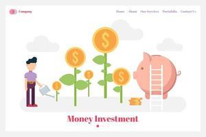 page de destination de l'investissement en argent