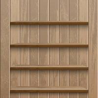 étagères en bois vides réalistes sur mur en bois