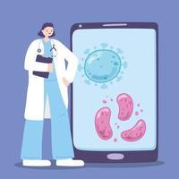 soins médicaux en ligne via smartphone vecteur
