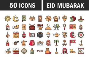 eid mubarak jeu d'icônes de célébration islamique vecteur