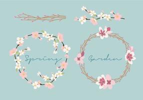 Fleurs de printemps Couronne vecteur