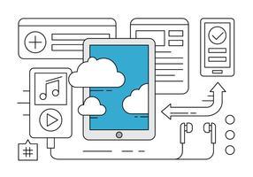 Applications et Cloud Services Tablet Free Vector