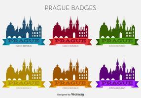 Vector Prague City Badges colorés